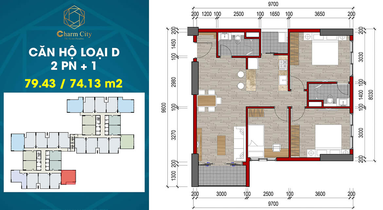 Thiết kế dự án căn hộ chung cư Charm City Dĩ An Bình Dương chủ đầu tư DCT Group