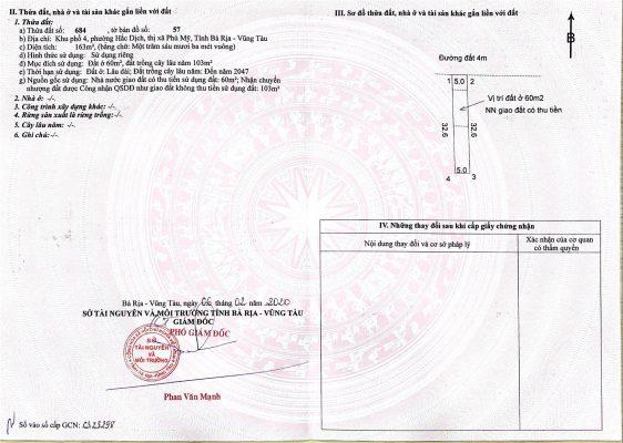 sổ đỏ từng nền đất Hắc Dịch - Tx Phú Mỹ - thửa 684 - 02