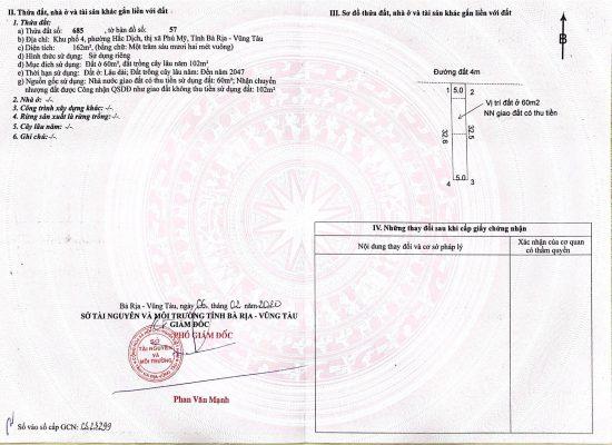 sổ đỏ từng nền đất Hắc Dịch - Tx Phú Mỹ - thửa 685 -02