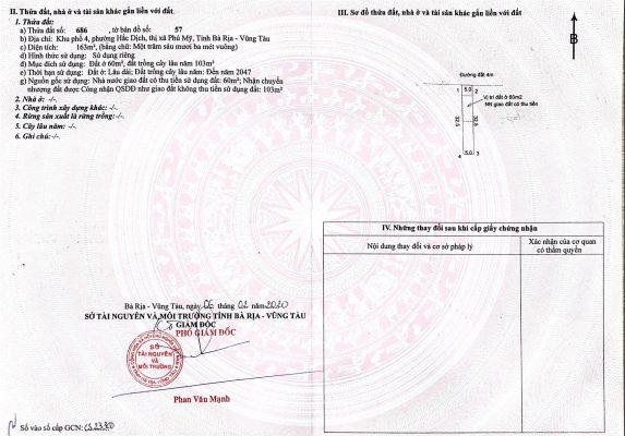 sổ đỏ từng nền đất Hắc Dịch - Tx Phú Mỹ - thửa 686 -03