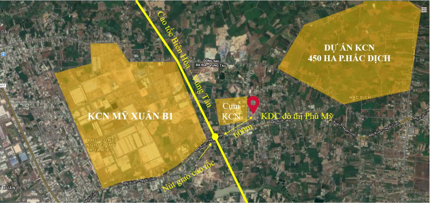 Vị trí đất nền KDC đô thị Phú Mỹ