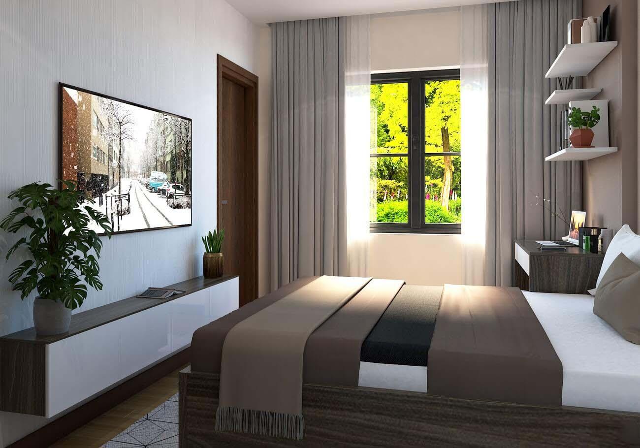 Phòng ngủ Master căn hộ chung cư Bcons Suối Tiên loại A Dĩ An Đường Tân Lập chủ đầu tư Bcons