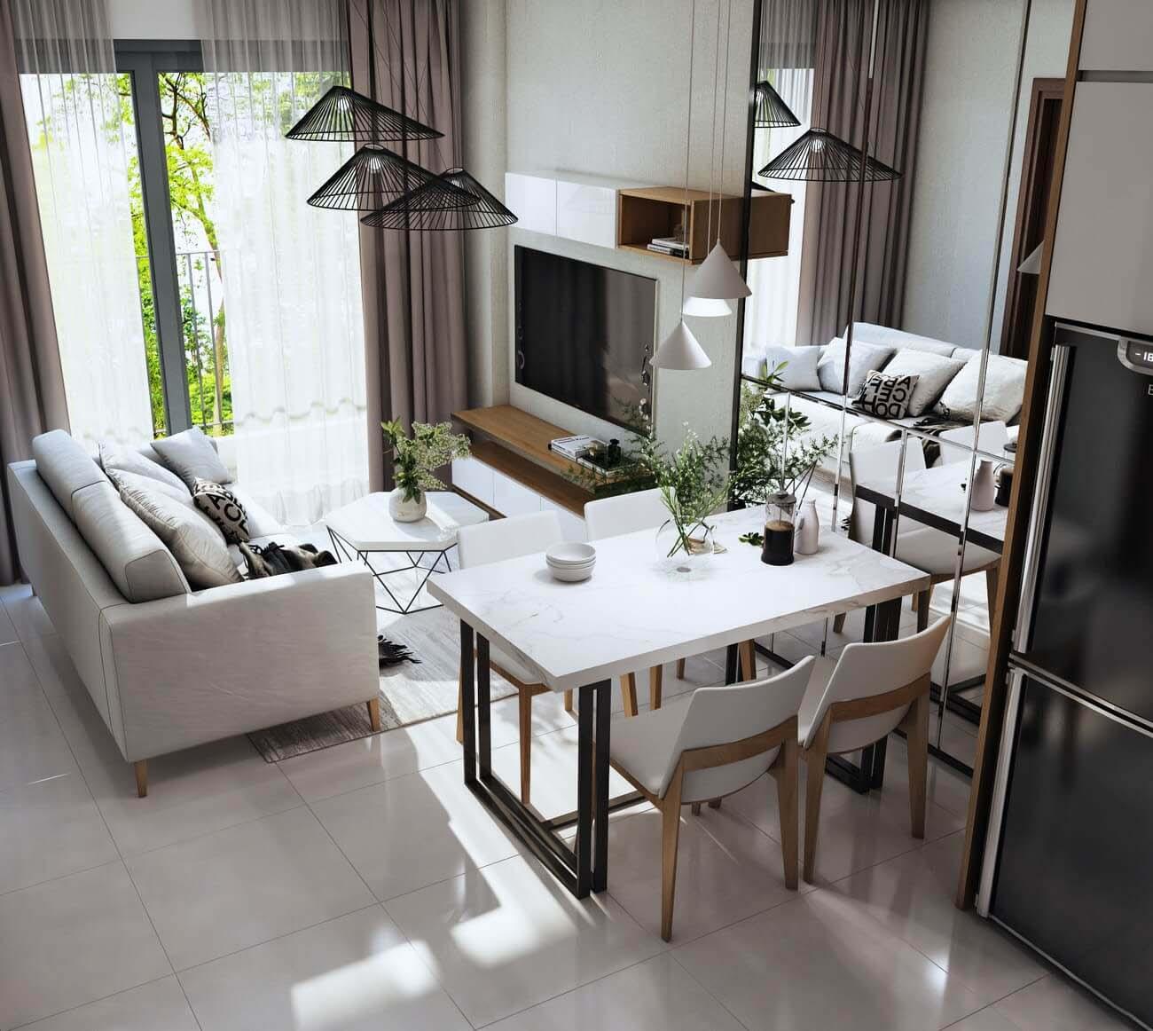 Phòng khách căn hộ chung cư Bcons Suối Tiên Loại B Dĩ An Đường Tân Lập chủ đầu tư Bcons