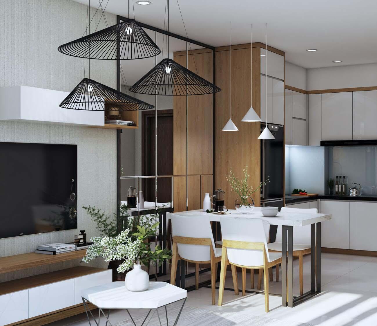 Phòng bếp căn hộ chung cư Bcons Suối Tiên Loại B Dĩ An Đường Tân Lập chủ đầu tư Bcons