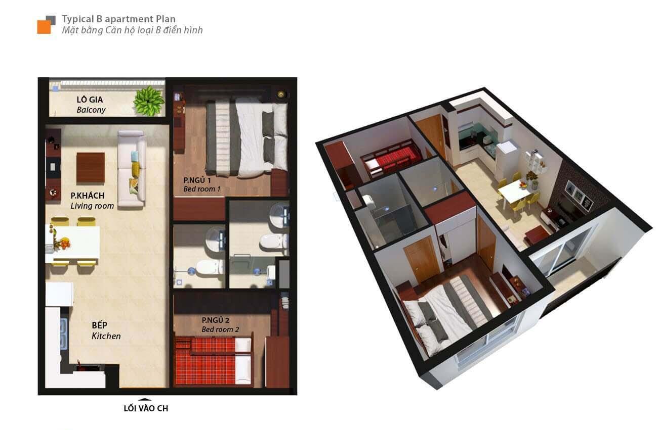 Thiết kế chi tiết căn hộ chung cư Bcons Suối loại B Tiên Dĩ An Đường Tân Lập chủ đầu tư Bcons