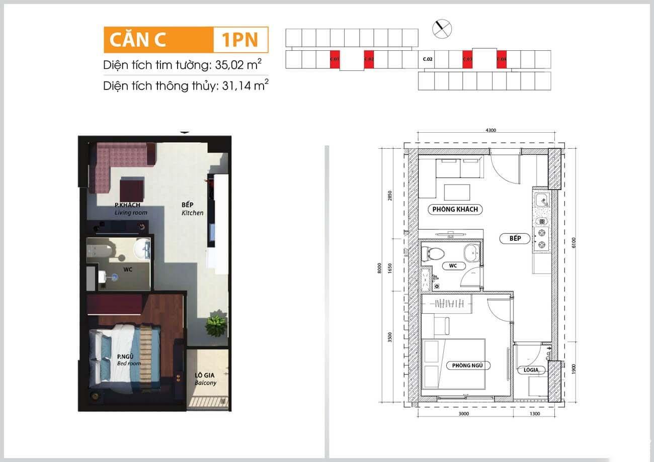 Thiết kế chi tiết căn hộ chung cư Bcons Suối loại C Tiên Dĩ An Đường Tân Lập chủ đầu tư Bcons