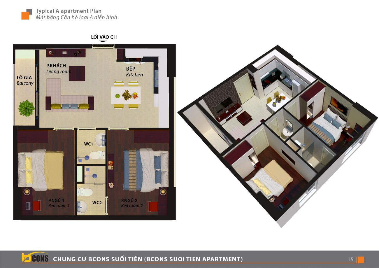 Thiết kế chi tiết căn hộ chung cư Bcons Suối loại A Tiên Dĩ An Đường Tân Lập chủ đầu tư Bcon.