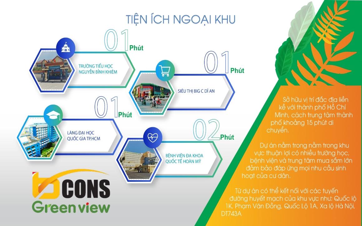 Tiện ích ngoại khu dự án Bcons Green View